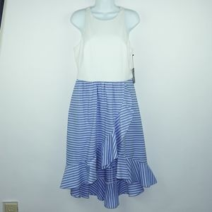 Vince Camuto White Blue Stripe Hi Low Hem Dress